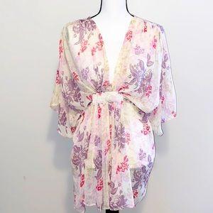 Aqua ivory floral short sleeve boho flowy blouse